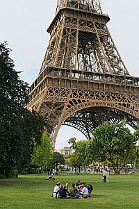 View of the base of the Eiffel Tower, Paris